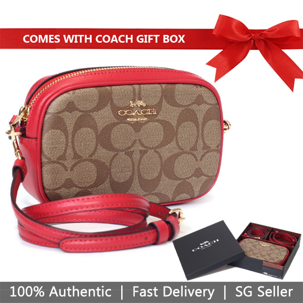 Coach Crossbody Bag In Gift Box Convertible Belt Bag In Signature Canvas Khaki / True Red / Gold # F39657