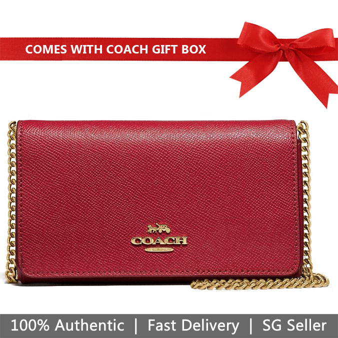 Coach Crossbody Bag In Gift Box Dressy Crossbody True Red # F39126