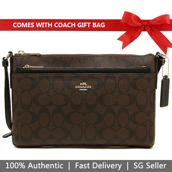 Coach Crossbody Bag In Gift Box East / West Crossbody With Pop Up Pouch In Signature Brown / Black # F58316