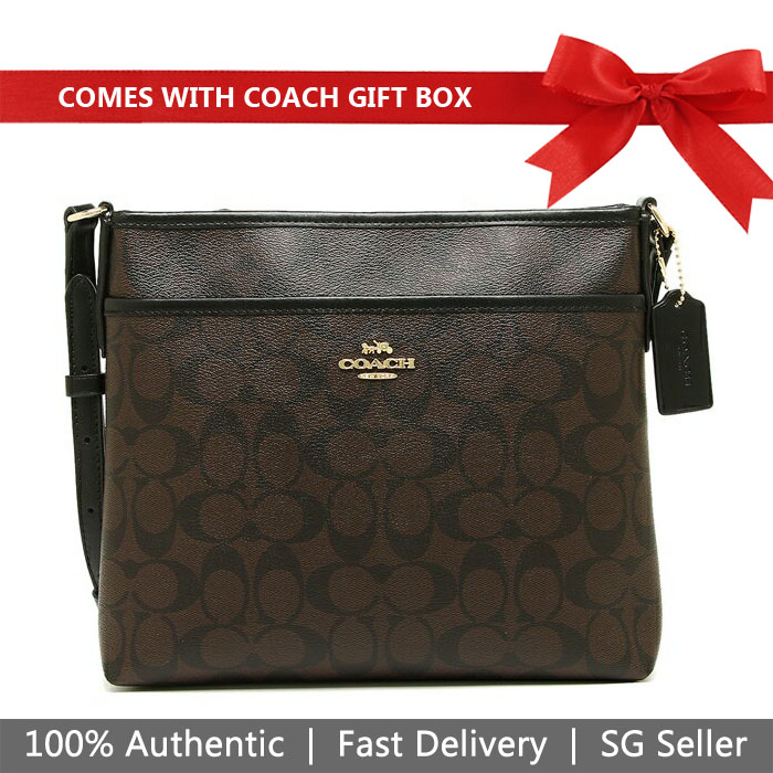 Coach Crossbody Bag In Gift Box File Crossbody In Signature Canvas Brown / Black # F29210