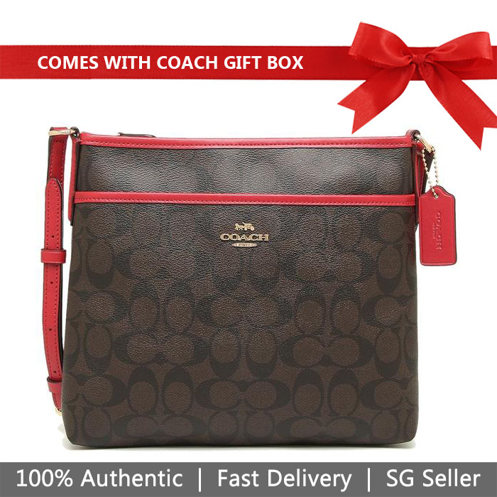 Coach Crossbody Bag In Gift Box File Crossbody In Signature Canvas Brown / True Red # F29210