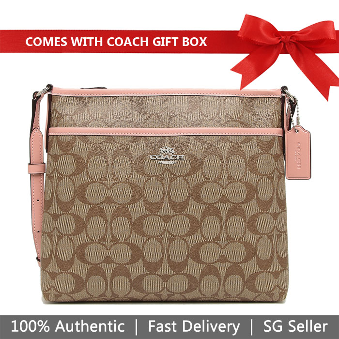 Coach Crossbody Bag In Gift Box File Crossbody In Signature Canvas Khaki / Petal Pink # F29210