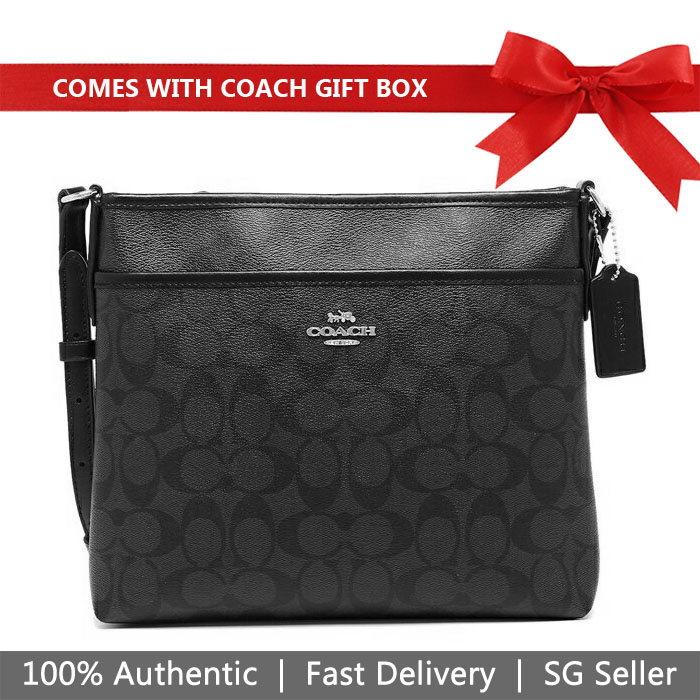 Coach Crossbody Bag In Gift Box File Crossbody In Signature Canvas Smoke Black # F29210