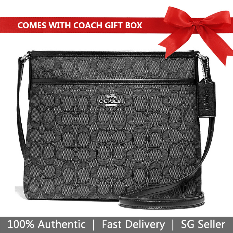 Coach Crossbody Bag In Gift Box File Crossbody In Signature Jacquard Black Smoke / Black / Silver # F29960
