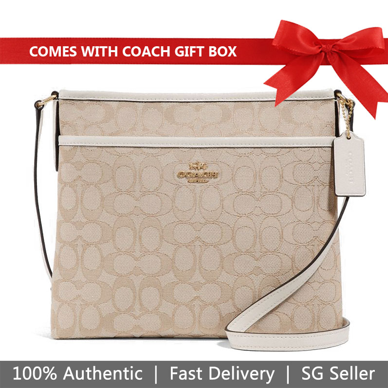 Coach Crossbody Bag In Gift Box File Crossbody In Signature Jacquard Light Khaki / Chalk / Gold # F29960