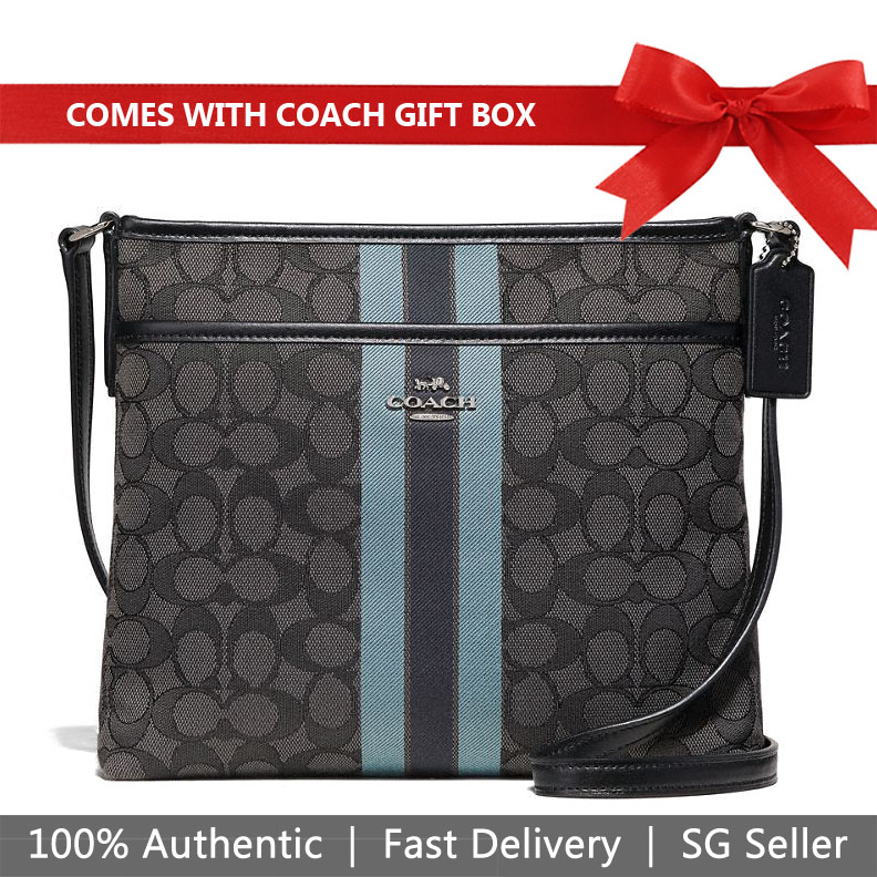 Coach Crossbody Bag In Gift Box File Crossbody In Signature Jacquard With Stripe Black / Blue / Silver # F39041