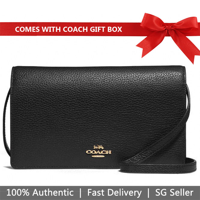 Coach Crossbody Bag In Gift Box Foldover Crossbody Clutch Black # F30256
