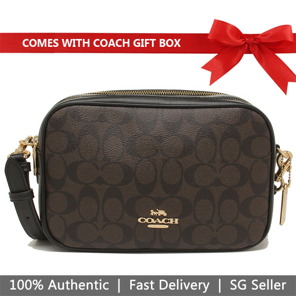 Coach Crossbody Bag In Gift Box Jes Crossbody In Signature Canvas Brown / Black # F68168