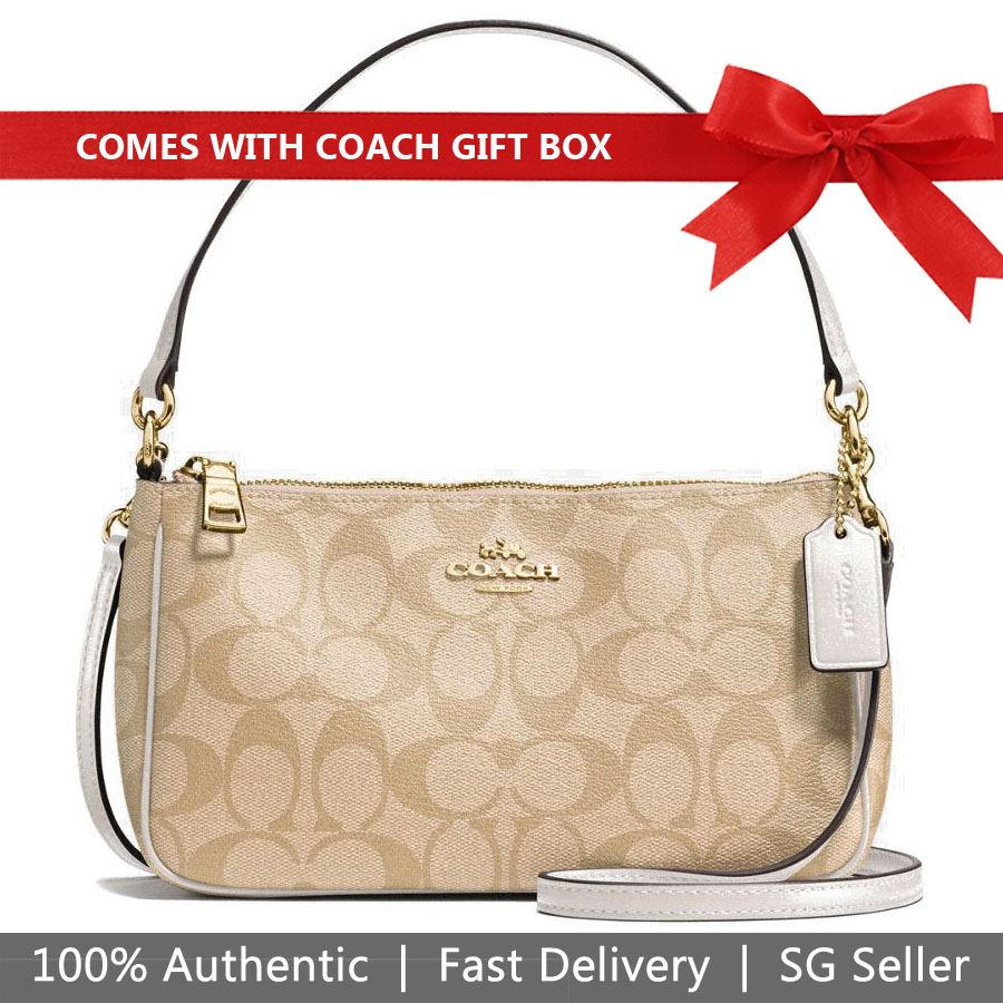 Coach Crossbody Bag In Gift Box Messico Top Handle Pouch In Signature Crossbody Bag Light Khaki Brown / Chalk White # F58321