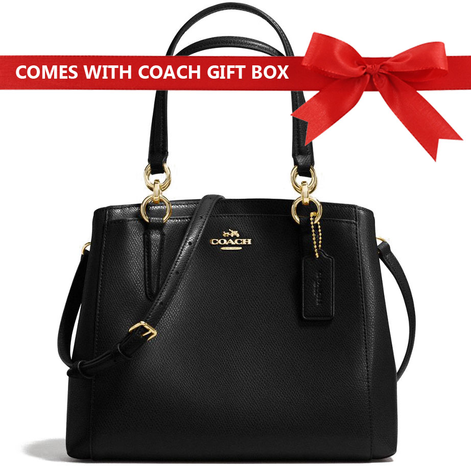 Coach Crossbody Bag In Gift Box Minetta Crossbody In Crossgrain Leather Black / Gold # F57847