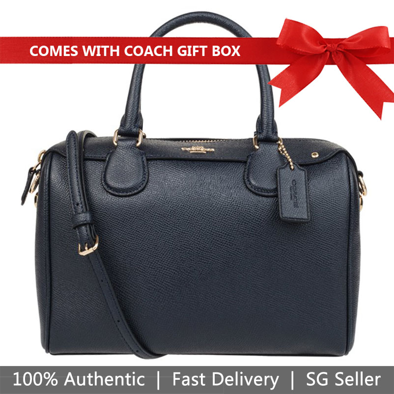 Coach Crossbody Bag In Gift Box Mini Bennett Satchel In Crossgrain Leather Midnight Navy Dark Blue # F57521