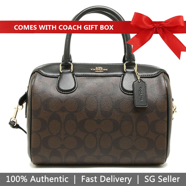 Coach Crossbody Bag In Gift Box Mini Bennett Satchel In Signature Canvas Brown / Black # F32203