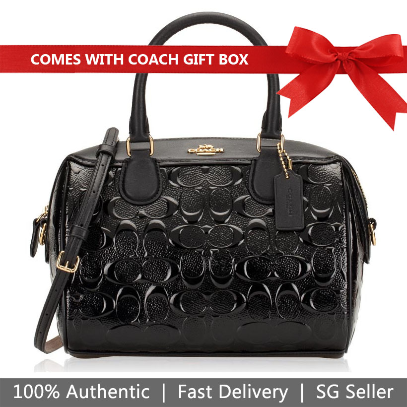 Coach Crossbody Bag In Gift Box Mini Bennett Satchel In Signature Leather Black # F41343