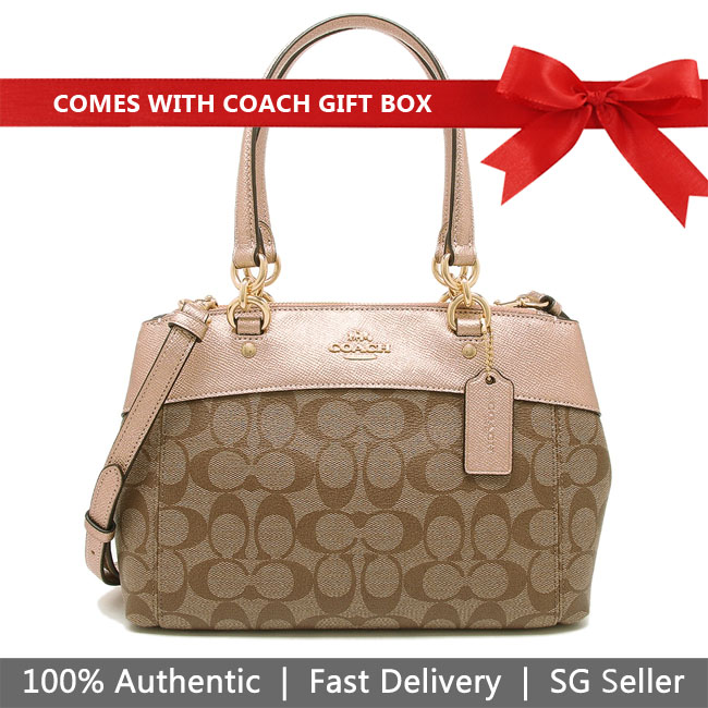 Coach Crossbody Bag In Gift Box Mini Brooke Carryall In Signature Canvas Khaki / Rose Gold # F39521
