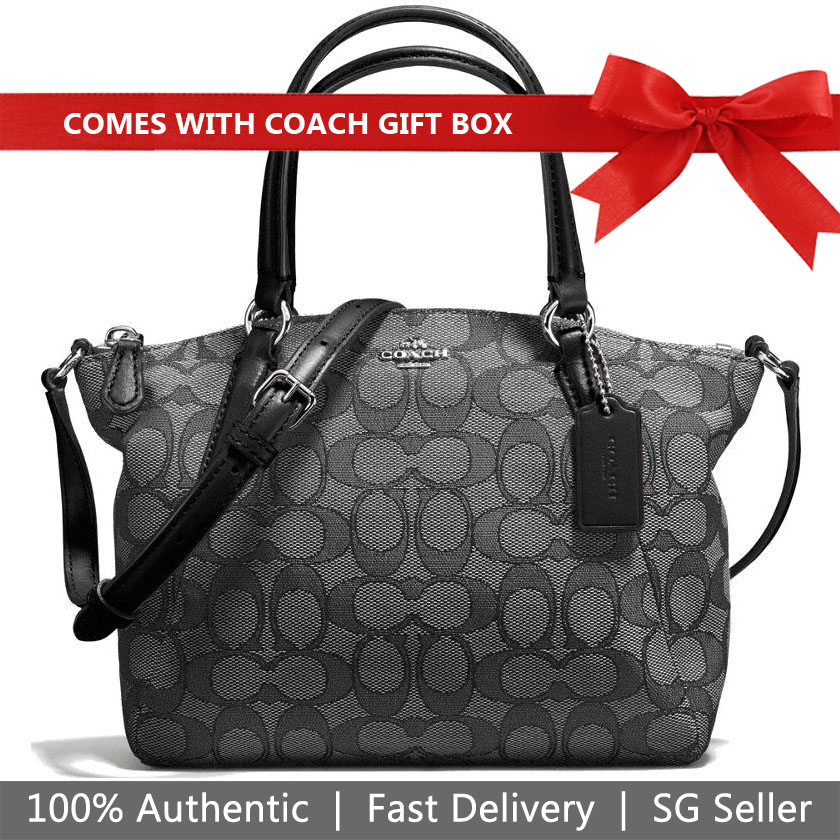 Coach Crossbody Bag In Gift Box Mini Kelsey Satchel In Outline Signature Black Smoke / Black / Silver # F57830