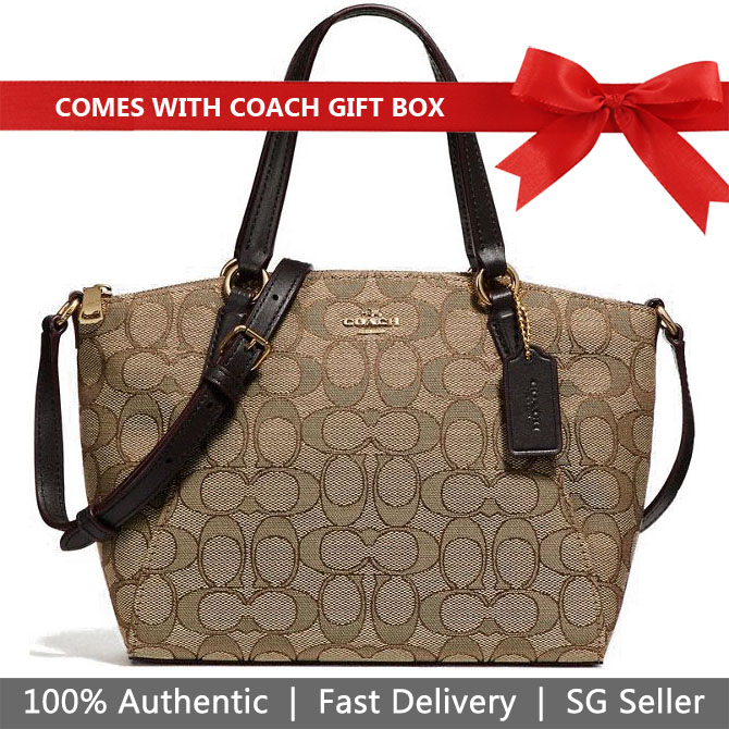 Coach Crossbody Bag In Gift Box Mini Kelsey Satchel In Outline Signature Khaki Brown # F27580
