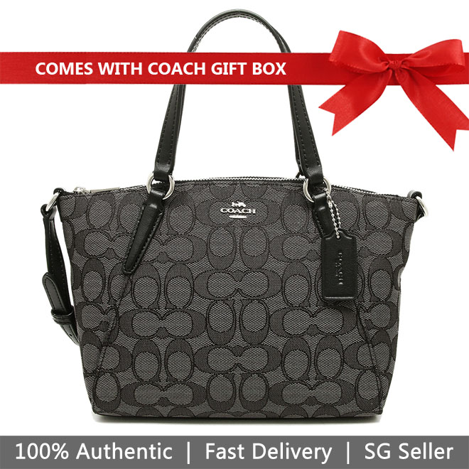 Coach Crossbody Bag In Gift Box Mini Kelsey Satchel In Outline Signature Smoke Black # F27580