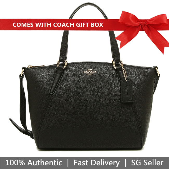 Coach Crossbody Bag In Gift Box Mini Kelsey Satchel In Pebble Leather Black # F28994