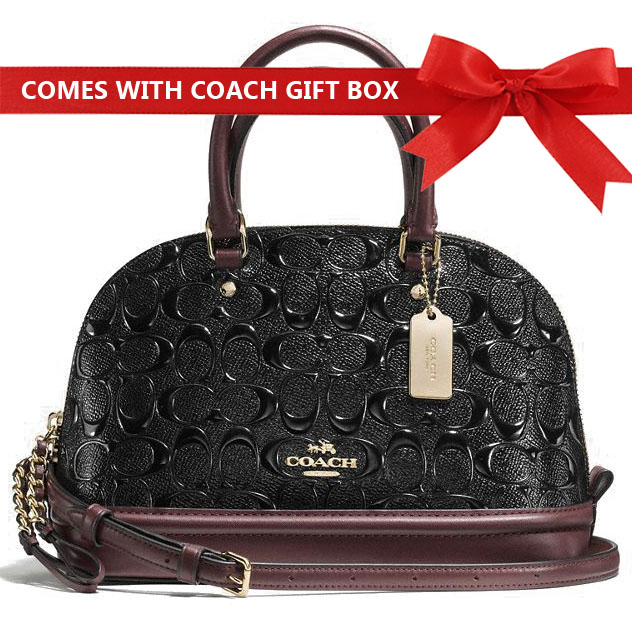 Coach Crossbody Bag In Gift Box Mini Sierra Satchel In Signature Debossed Patent Leather Black Oxblood # F55450