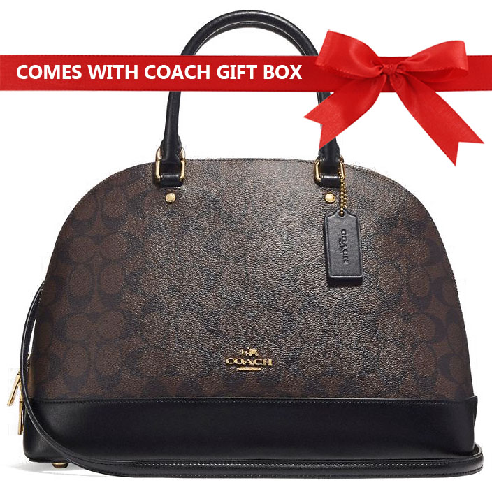 Coach Crossbody Bag In Gift Box Sierra Satchel In Signature Canvas Brown / Black # F27584