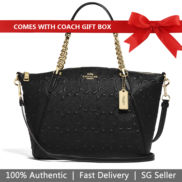 Coach Crossbody Bag In Gift Box Small Kelsey Chain Satchel In Signature Leather Black # F49317