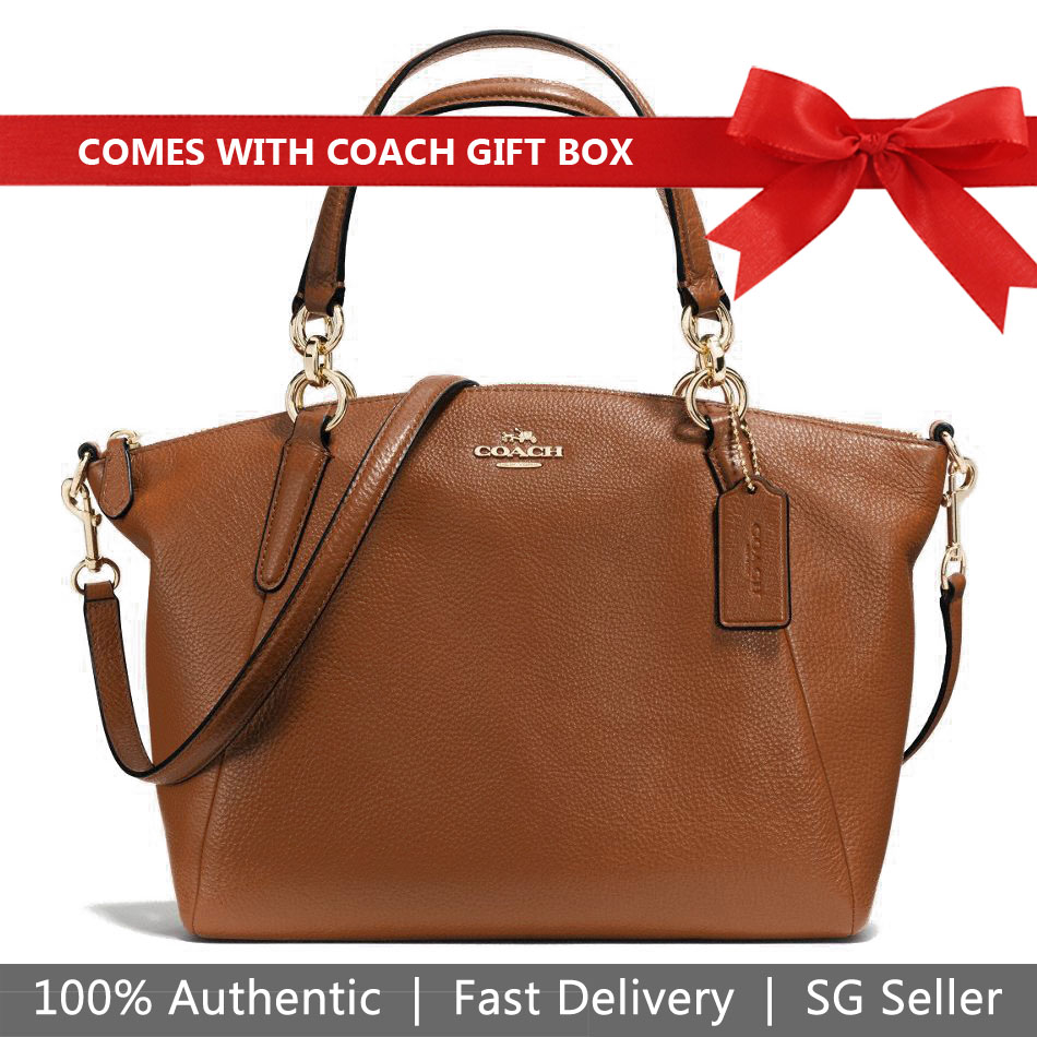 Coach Crossbody Bag In Gift Box Small Kelsey Satchel In Pebble Leather Saddle Brown / Gold # F36675