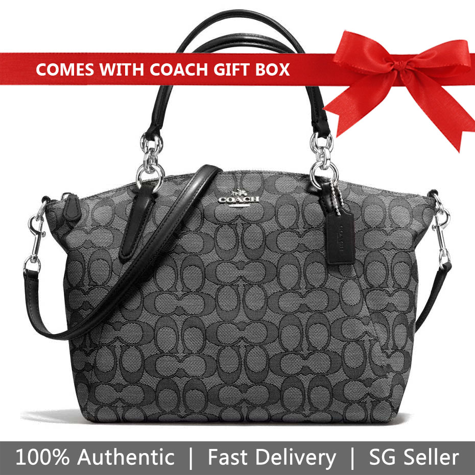 Coach Crossbody Bag In Gift Box Small Kelsey Satchel In Signature Jacquard Black Smoke # F27582