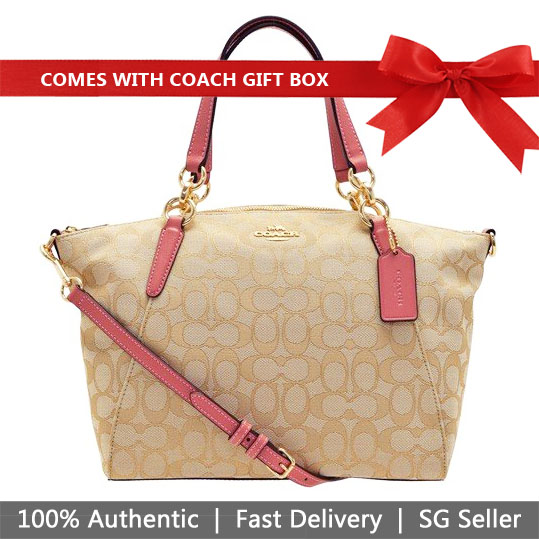 Coach Crossbody Bag In Gift Box Small Kelsey Satchel In Signature Jacquard Light Khaki / Peony Pink # F27582