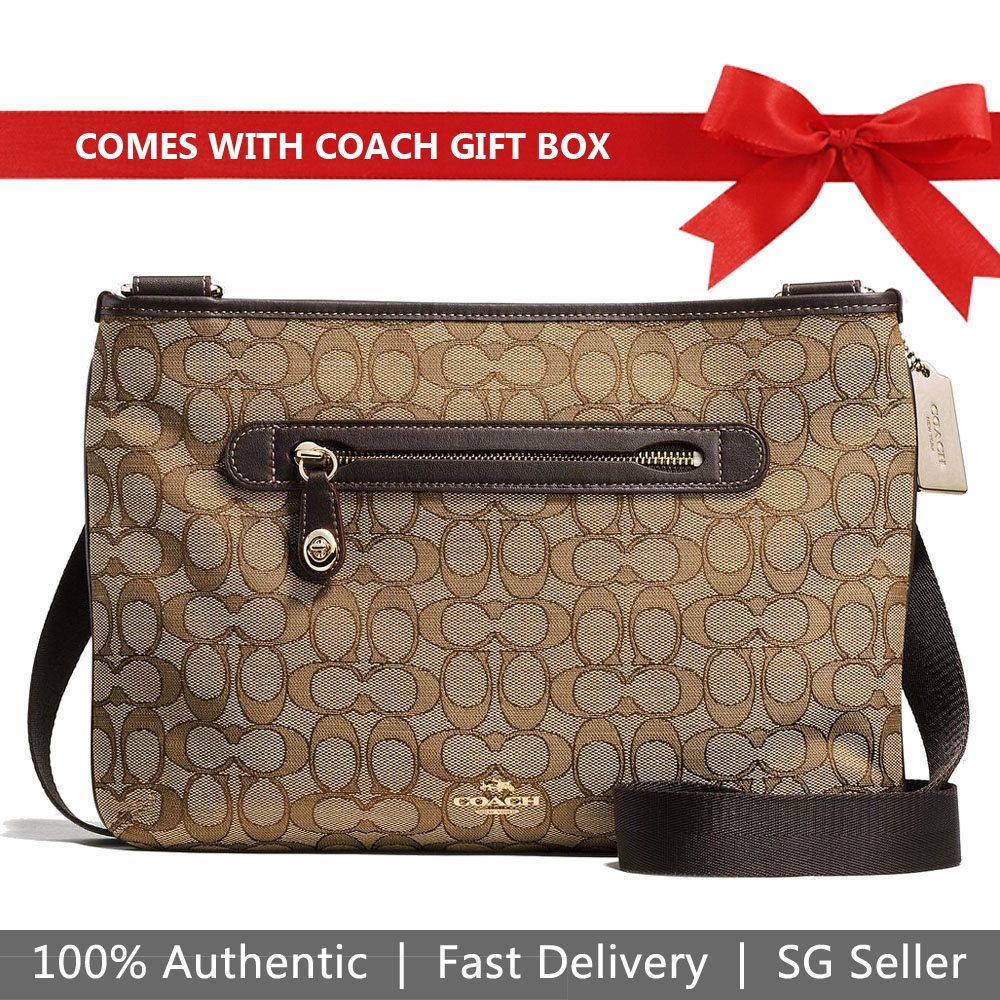 Coach Crossbody Bag In Gift Box Taylor In Signature Khaki Brown # 37587
