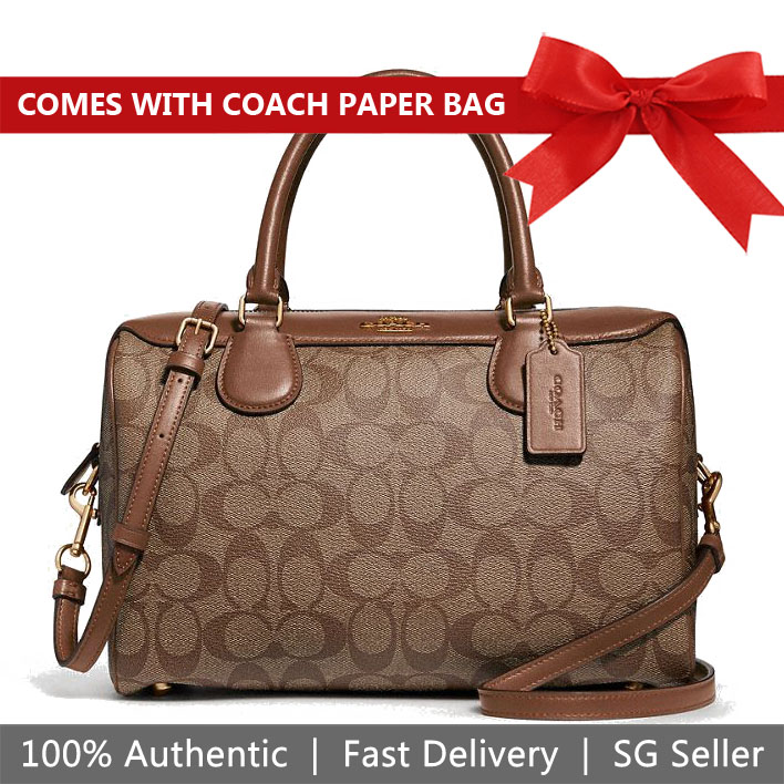 Coach Crossbody Bag Large Bennett Satchel In Signature Canvas Khaki / Saddle Brown / Gold # F31383