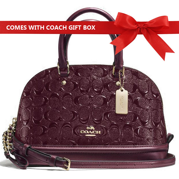 Coach Crossbody Bag Mini Sierra Satchel In Signature Debossed Patent Leather Oxblood / Gold # F55450