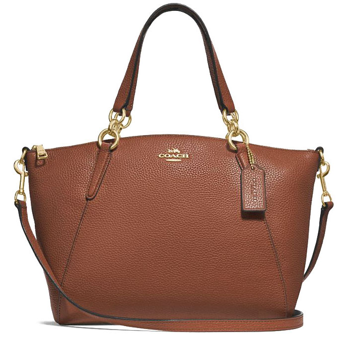 Coach Crossbody Bag Pebble Leather Small Kelsey Crossbody Bag Saddle Brown 2 / Gold # F28993