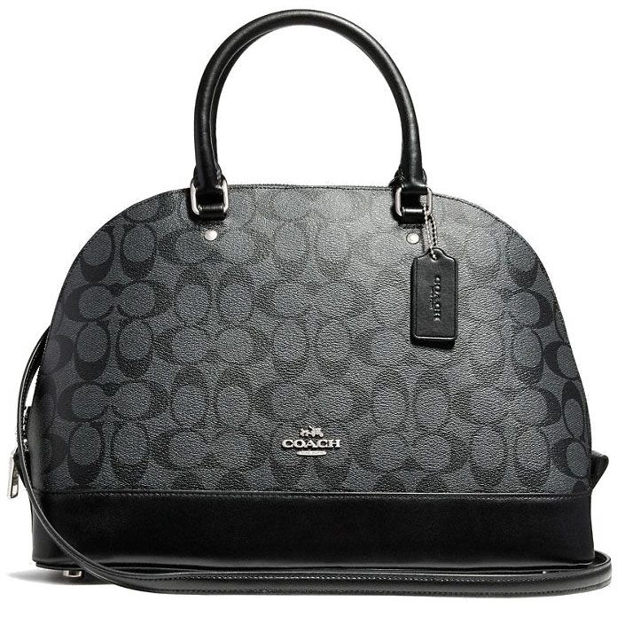 Coach Crossbody Bag Sierra Satchel In Signature Smoke Black # F58287