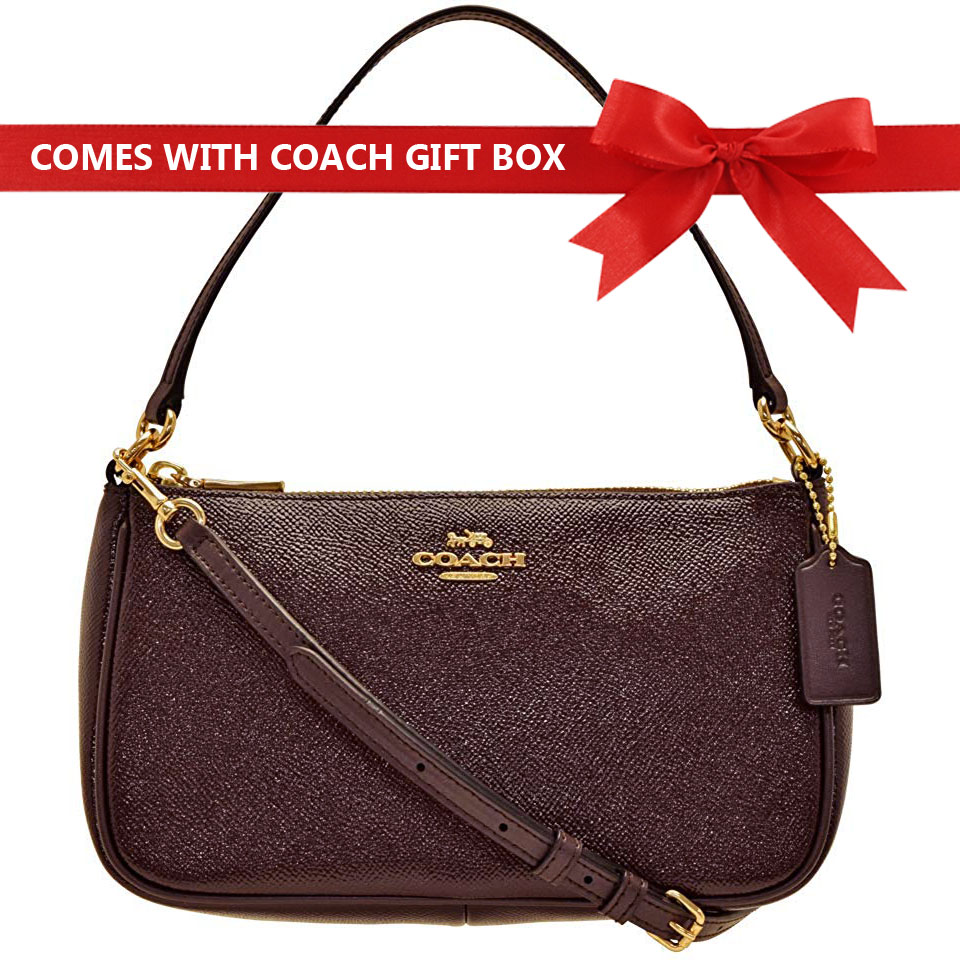 Coach Crossbody Bag Top Handle Pouch Oxblood / Gold # F32211