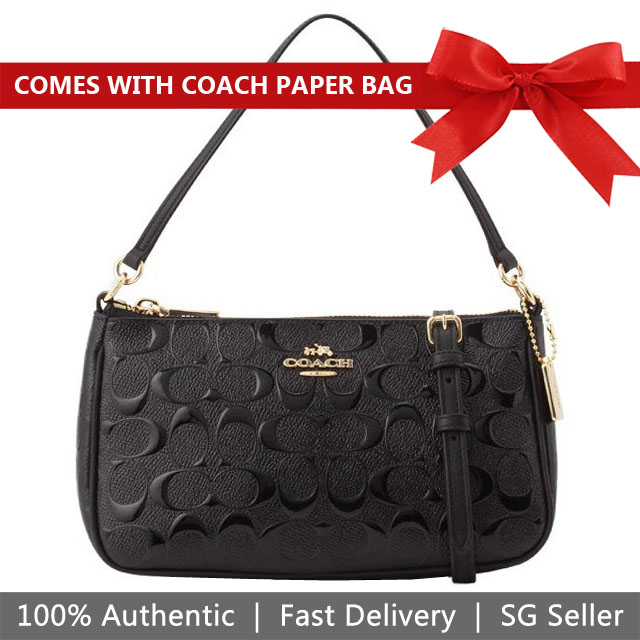 Coach Crossbody Bag Top Handle Pouch In Signature Debossed Patent Leather Black / Gold # F56518