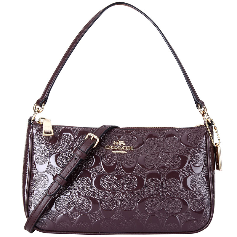 Coach Crossbody Bag Top Handle Pouch In Signature Debossed Patent Leather Oxblood Dark Red / Gold # F56518