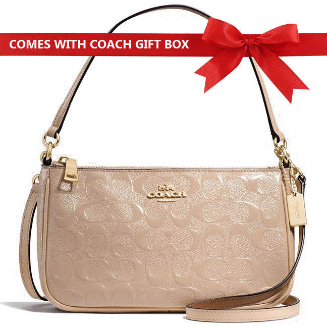 Coach Crossbody Bag Top Handle Pouch In Signature Debossed Patent Leather Platinum Beige Nude / Gold # F56518