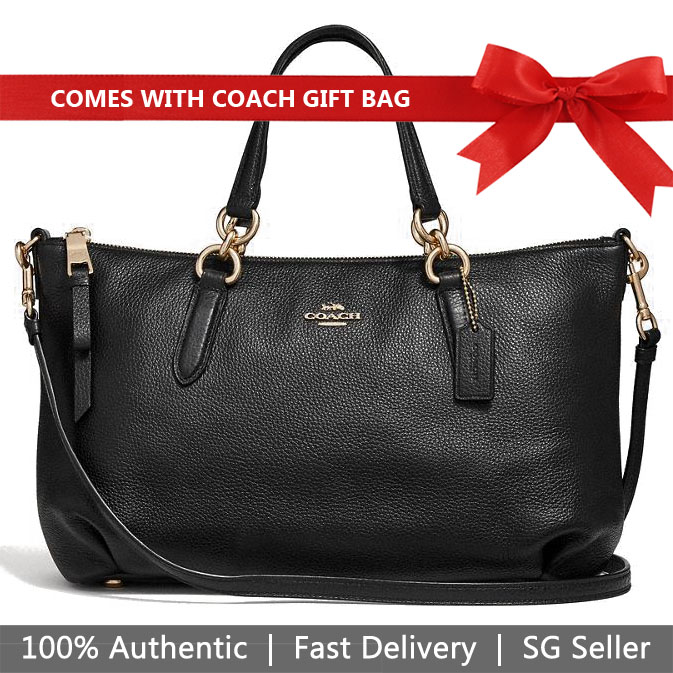 Coach Crossbody Bag With Gift Bag Ally Satchel Black / Gold # F30565