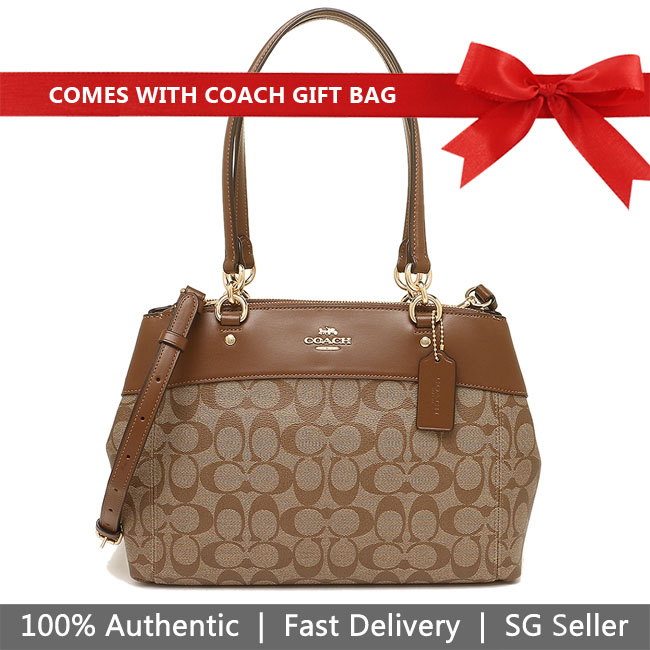 Coach Crossbody Bag With Gift Bag Brooke Carryall Shoulder Bag Khaki / Saddle Brown / Gold # F25396