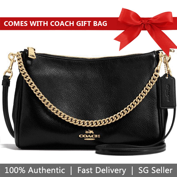 Coach Crossbody Bag With Gift Bag Carrie Crossbody Black / Gold # F39206