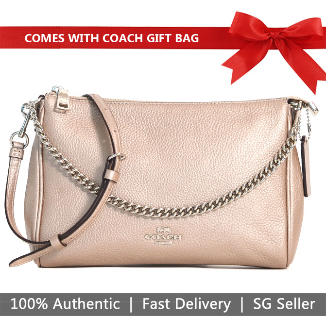 Coach Crossbody Bag With Gift Bag Carrie Crossbody Platinum / Silver # F39207