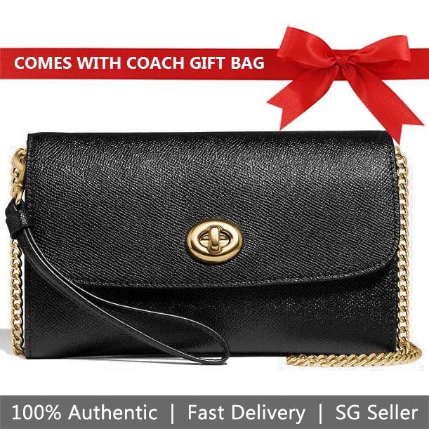 985d48e4fd10 Coach Crossbody Bag With Gift Bag Chain Crossbody Black   Gold   F33390