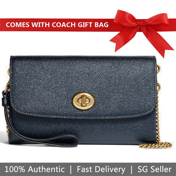Coach Crossbody Bag With Gift Bag Chain Crossbody Metallic Denim Blue / Gold # F22828