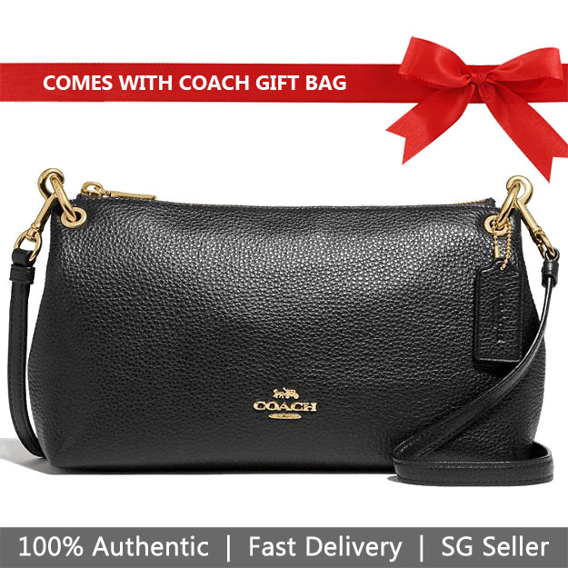 Coach Crossbody Bag With Gift Bag Charley Crossbody Black # F39380