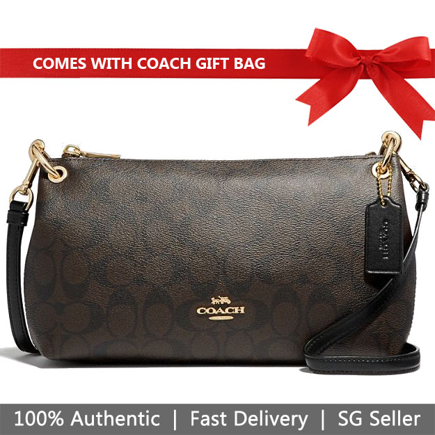 Coach Crossbody Bag With Gift Bag Charley Crossbody In Signature Canvas Brown Black # F39087