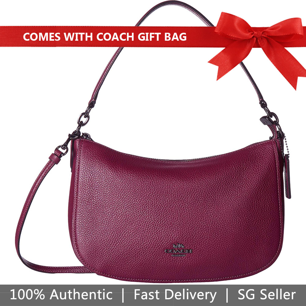 Coach Crossbody Bag With Gift Bag Chelsea Crossbody Dark Berry Red Purple # 56819