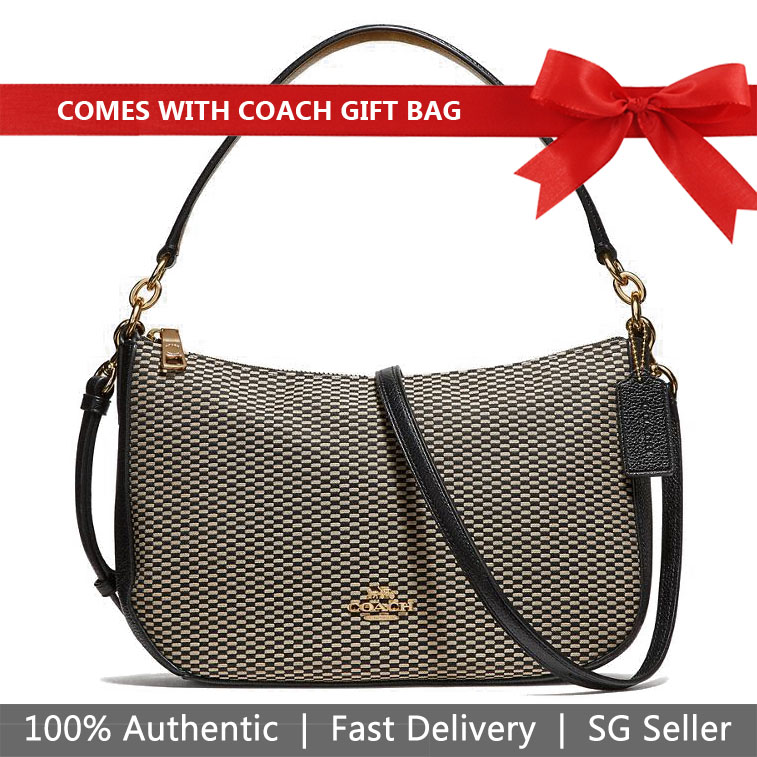 Coach Crossbody Bag With Gift Bag Chelsea Crossbody In Legacy Jacquard Black # 28892