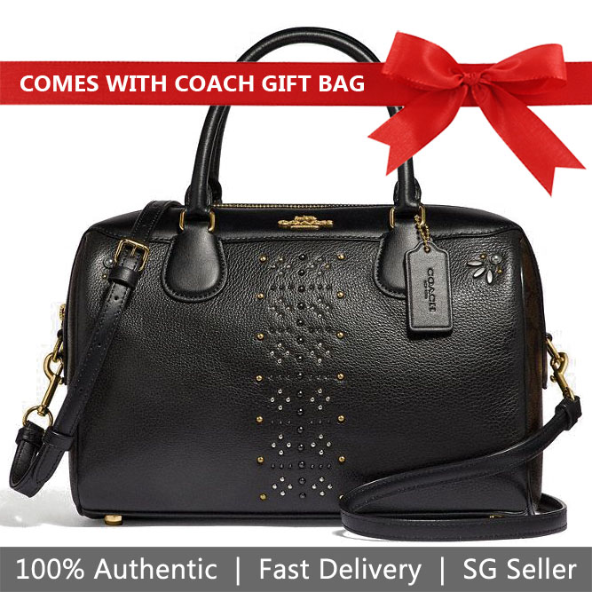Coach Crossbody Bag With Gift Bag Large Bennett Satchel In Signature Canvas With Rivets Brown Black / Gold # F31429
