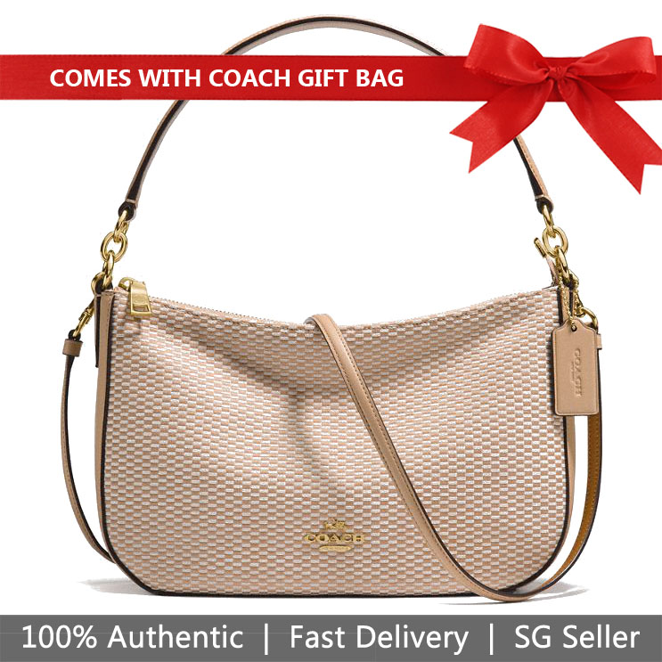 Coach Crossbody Bag With Gift Bag Legacy Jacquard Chelsea Crossbody Hobo Beechwood Nude Beige / Gold # 28892