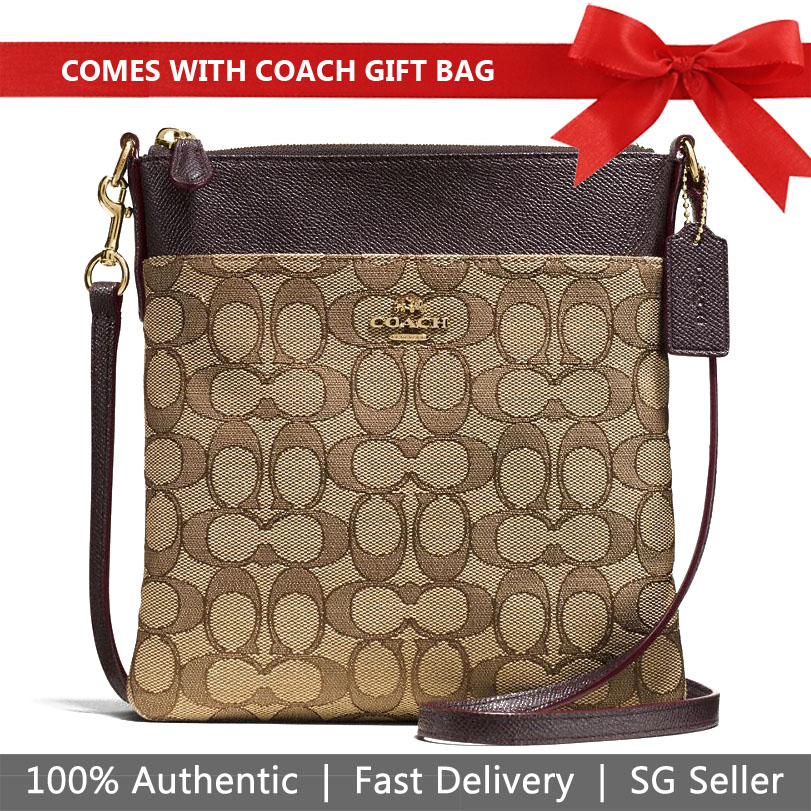 Coach Crossbody Bag With Gift Bag Messenger Crossbody In Signature Jacquard Khaki / Brown # 59976